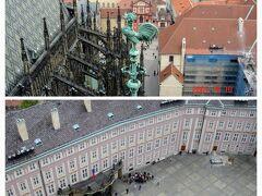 「うわ~、高い!」  大聖堂の屋根や装飾、風見鶏が真横に見えます。 下を見ると、人があんなに小さく~