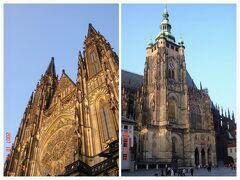 1番の見所、大きくそびえる聖ヴィート大聖堂 正門(左)と南塔(右)  真下から見上げると、首がつらくなる程の高さ