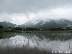 水田に映りこむ由布岳。 こんな風景が見られるなら、雨もいいなぁ。