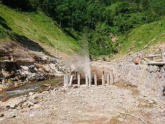 後楽館の橋の手前には、地獄谷噴泉があります。 間欠泉とは違い、常に噴き出しています。