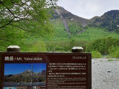 焼岳がみえるところにきました。 昨日、旦那はあの山に登ってきたそうな。  噴火によってできた山だそうで、溶岩の粘性が強くて上に盛り上がった溶岩ドームができたと看板に書いてありました。