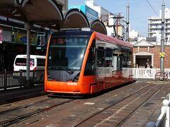 ふたたび松山市前駅から路面電車に乗ります。