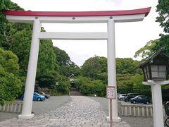 続いて、「鎌倉宮」前を通ります。天井が赤茶色で全体が白い鳥居が特徴的で立派。