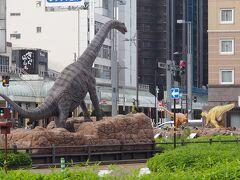 福井は「恐竜王国」のようです。県下で恐竜の化石がたくさん発掘されたとのコトで、駅前には実物大の恐竜のモニュメントもあります。。