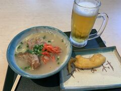ドライブを終えて新石垣空港へ  安定の沖縄そば、天ぷらです。
