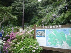 下田大和館から10:30の送迎バスで伊豆急下田駅へ 伊豆急下田駅から10:40の海中水族館行きのバスであじさい公園下車。 「下田公園」