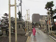 豊国神社へ行きます 加藤清正像がありました