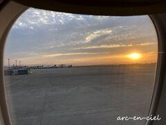 仙台空港から、定刻どおりに出発! 夕陽が見えたので、もしかして、上空でも~と期待(^^)。