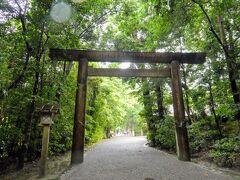 第一鳥居をくぐります。 伊勢神宮には狛犬や鈴、しめ縄というものはなくかわりに鳥居に榊が貼られています。 榊は境木の意味があり人域と神域の境界とされているそう。