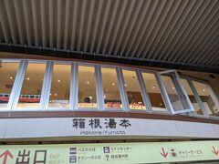 箱根湯本駅に到着。向かいのホームには登山鉄道に乗る人たちがたくさん並んでいました。