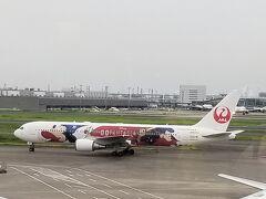 羽田空港でディズニーJETを発見。 (1本前のにすればあれに乗れたようで残念)