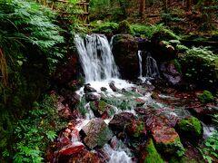 瓜割の滝に到着。 水温は一年中一定で、夏でも冷たい。 冷やしておいた瓜が、冷たさで割れるくらいだから、「瓜割の滝」なのだそう。