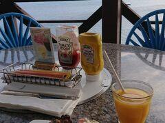 からの、今度は海を眺めながら、風を浴びながらの、朝ハンバーガー!(肉焼きたて)@コーラルシービュー