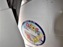 機首の近くにあるL1ドアには、花束をイメージしたデカールが