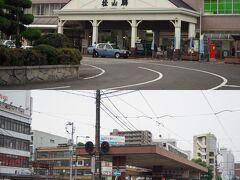 到着は写真下の路面電車の駅「JR松山駅前」に到着。 地下道を通って写真上のJR松山駅に移動します。  松山は伊予電の「松山市駅」があるのでちょっと注意。