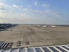 <ターミナル1:スカイデッキ>  スカイデッキに出てみると ドリームリフターがいました!  でも遠い・・・