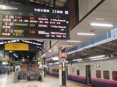 2日目は東京駅6:08発の上越新幹線初列車「とき301号」に乗車します。 最寄り駅から東京駅まで時間を調べた際に最初調べた時は日時指定をせず平日ダイヤで調べていたのに気づかず、前日に再度確の際に時間が違うことが発覚。危ない所でした。 朝早い時間帯は平日と土休日ダイヤはかなり違うの注意ですね。
