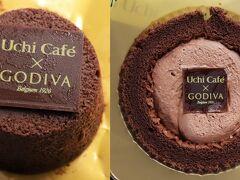 ゴディバを食べてBAYコンチへ。  テリーヌショコラ(左)は好みの味。 ショコラロールケーキはクリームが多い。もう少し小さくてよいので、パフの量を増やして欲しい。
