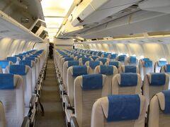広島空港に到着後の様子。シートが現在とは異なります。でも明るい雰囲気で良いですよね。個人的には2-3-2シート配置のB767は結構好きな機種です。