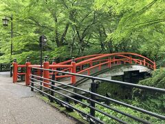 河鹿橋 紅葉の時期も素敵だと思うけど、緑と赤い橋も素敵