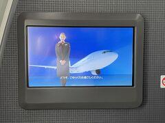 機内安全ビデオが流れます。 JALの機内安全ビデオに出られている客室乗務員役の方ですが、JALの方ではなく池田香織さんという女優さんなんです! 最近では、今流れているアマゾンのCMの中でリモートで男性と女性が商談中に女性が「コストが3倍かかりますが!」と説明していると男性がアマゾンのサイトを見て「お得!?」と言って女性が「お得ですか!?ありがとうございます。」と一瞬映っている方が、この方なんです。 昨年のドラマ「相棒」でも冨士眞奈美さんと一緒に出演されていました。  あまり有名な方ではありませんが、10年以上JALの客室乗務員やシートなどのCMや広告に出られています。