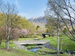 湖畔にそそぐ小川のある「鹿の沢川上流公園」から大雪山系を望む。ほんのりと桜のピンクが春を語る。夏は「鹿越園地 ラベンダー園」が直ぐそばにある。