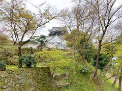 <岡崎公園:岡崎城>  神橋を渡って階段を上がると岡崎城の天守閣が見えました。 岡崎城は徳川家康が生まれた城として有名です。