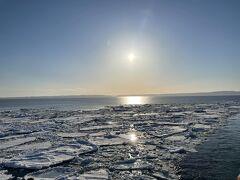 通常60分の航海ですが、流氷が遠くにあるため90分に延長しての航海です。 出発しておよそ30分後、船は流氷帯に突っ込んでいきました。本当に流氷たちが帯状になてプカプカ浮いているのが分かります。