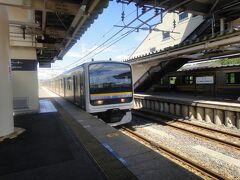 成東駅 1番ホーム。  銚子駅行き 9:25am 発の列車。