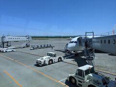 新千歳空港到着は約5分遅れ。この関係で、予定していた小樽行きのエアポート快速への乗車は微妙な状況。