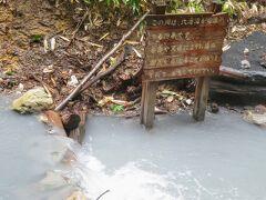 【大湯沼天然足湯】  白濁の硫黄臭プンプンの湯がながれています(^^)