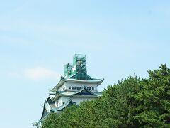しばらくの間、地上に降りていた金チャチ。 どうなってるか名古屋城へ行ってみたら、お城の上にもどっていました。でもまだ補修中??網がかけてあり見れません。