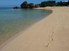 まだ誰も歩いていないビーチを独り占めしました。 ゆっくり歩いていると20cm位の魚がすぐそこを泳いでいました。