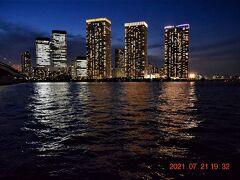 タワーマンションの灯りが煌びやかになってきた。 いや~湾岸エリアってつくづく凄い景色だ!!