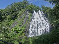 知床での滞在拠点となるウトロ(宇土口)に到着する前にオシンコシンの滝に立ち寄る。 日本の滝100景にも選ばれているオシンコシンの滝の落差は50m。  滝の前にある展望台まで跳ね返る滝のしずくが飛んできて、天然のミストシャワーで気持ち良い。  オシンコシンの滝がかっこよく見えるのは、展望台の一番上ではなく中腹からで、横広がりに分岐したその姿は迫力がある。