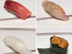 (写真左上)中トロ (写真右上)アラ(スズキ目ハタ科でクエとは異なる魚) (写真左下)アオリイカ (写真右下)ムラサキウニ