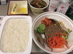 そしてもう帰りの機内。1食目で頂いたのはビビンパです。LA発よりもやはり仁川発の方が韓国料理はおいしいかな?