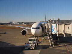 晴れわたる青空。 冬の東京の空は、澄んでいてホント美しいと思う。 元旦の羽田空港。 ロビー内はお正月ムードを漂わせているが、極めて人は少なく閑散としていた。