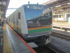 07時35分赤羽駅から高崎線に乗って1時間弱で