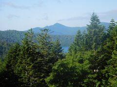沼山峠の展望台から尾瀬沼を望む。ほとんど木で隠れて沼は見えないが。