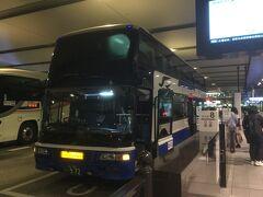 ★21:15 遅い時間なので混雑することもなく、大阪駅のBTに到着。今では中央道の2階建てバスは河口湖までしか行っていないので貴重な体験となりました。 その後は阪神電車に乗り換え兵庫方面へ。