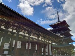 『東金堂』(国宝)  726年に聖武天皇が叔母の元正太上天皇の病気全快を願って建立し、現在の建物は1415年に再建されたものだそうです(^^)      続いて、タクシーに乗って『正倉院』までGo!  さすがに歩くのは辛い距離…(^_^;)