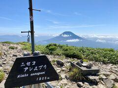 山頂(1,308m)  登山では低山の部類かな  1時間ちょいで登れるので初心者向きです  距離感のせいで  羊蹄山(1,898m)の方が低く見えます