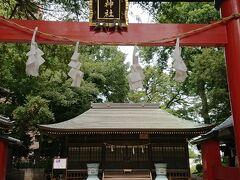 周囲より高くなっている氷川神社です。  緑の樹々に囲まれた静かな場所です。
