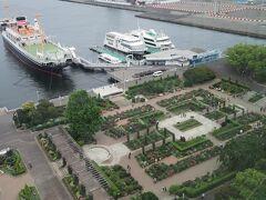 氷川丸の手前は沈床花壇。 横浜ローズウィーク開催中でした。 滞在中に行って見ます。
