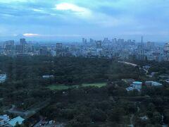 東京・大手町『フォーシーズンズホテル東京大手町』35F  「パノラマスイート」のお部屋のベッドルームからの 眺望(西側)の写真。  この付近は暗めです。  正面には広大な「皇居東御苑」が広がります。 石垣が見えているところは、「皇居東御苑」内にある「江戸城本丸跡」 (写真右)です。  写真中央奥は新宿の高層ビル群です。 写真左奥には夕暮れに染まる富士山が見えます (^^♪