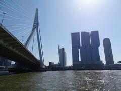 そして最後の橋をくぐるとロッテルダムの最新のビル群が目の前に飛び込んでくる。日本だったら建築基準法でNGが出そうな外観のビル。