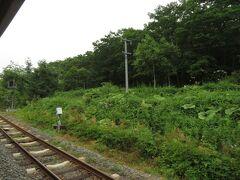 2021.07.24 釧路ゆき普通列車車内 小さい山越えの途中の古瀬駅跡。特急の行き違いでホームに降りて撮ろうと構えていたら、いきなりおっさんが割り込んできてみんなため息だった悪い印象しかない。