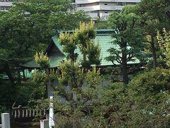隅田川テラスからまるでベルリンの壁のような高い金網で遮られた隅田川神社。