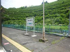万座・鹿沢口駅。 この駅で折り返す電車も多く、本数が増える。 かつては特急電車の終着駅でもあったが、現在は普通電車しか来ない無人駅。
